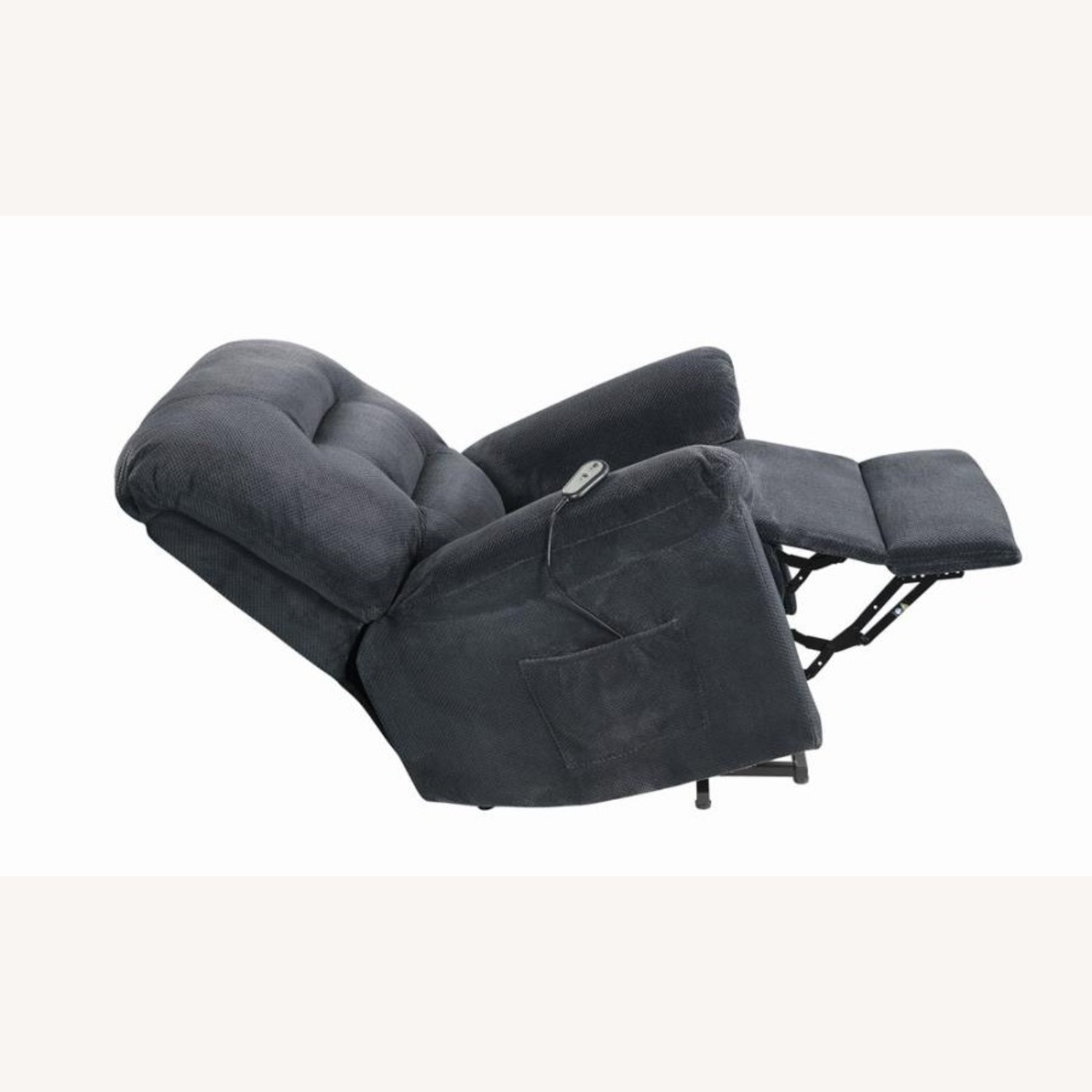 Power Lift Recliner In Charcoal Chenille Fabric - image-4