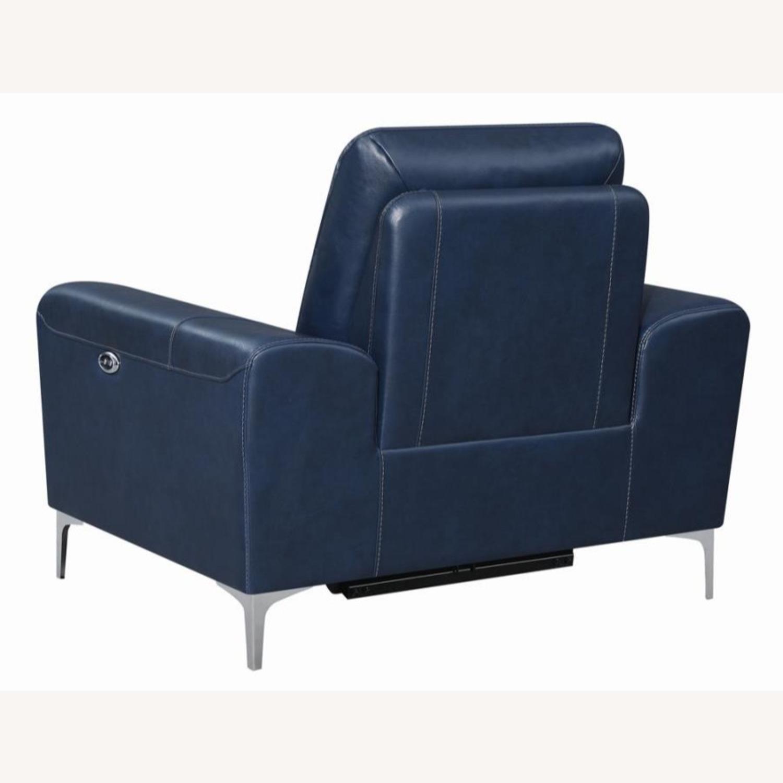 Power Recliner In Ink Blue Velvet Leather - image-4