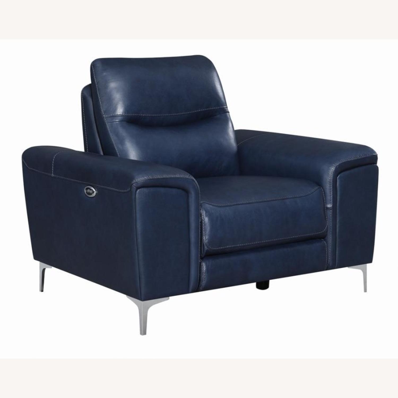 Power Recliner In Ink Blue Velvet Leather - image-0