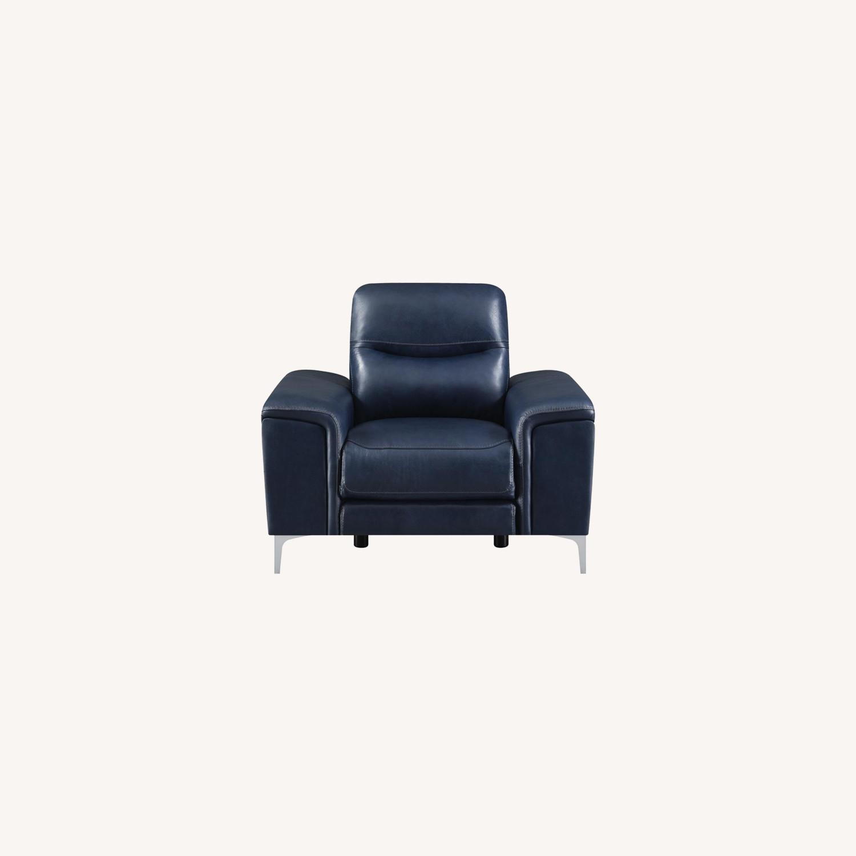 Power Recliner In Ink Blue Velvet Leather - image-9