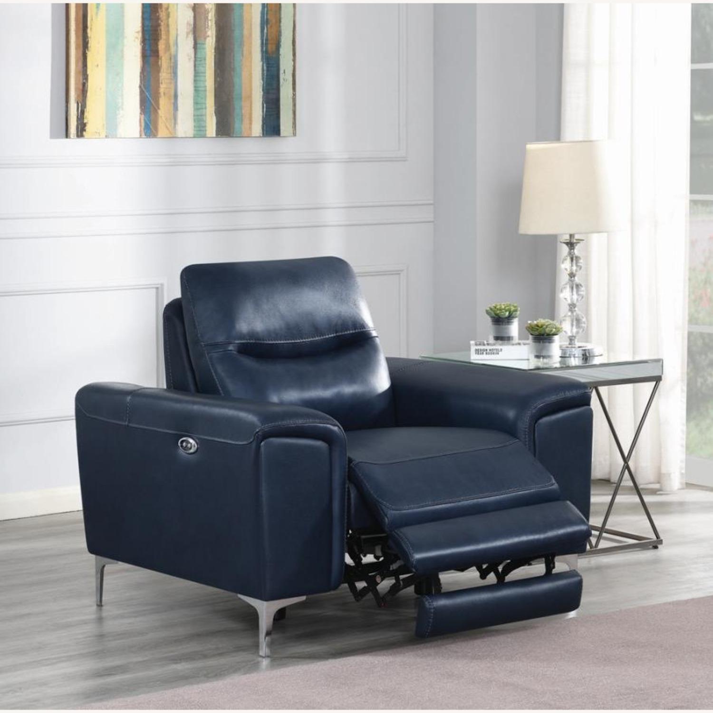 Power Recliner In Ink Blue Velvet Leather - image-5