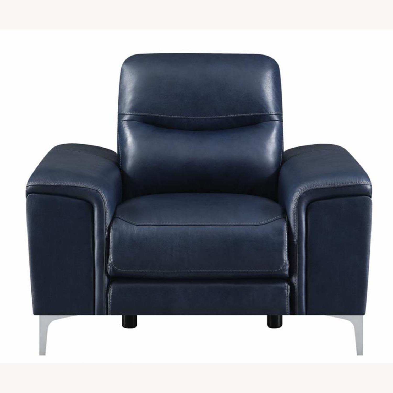 Power Recliner In Ink Blue Velvet Leather - image-2