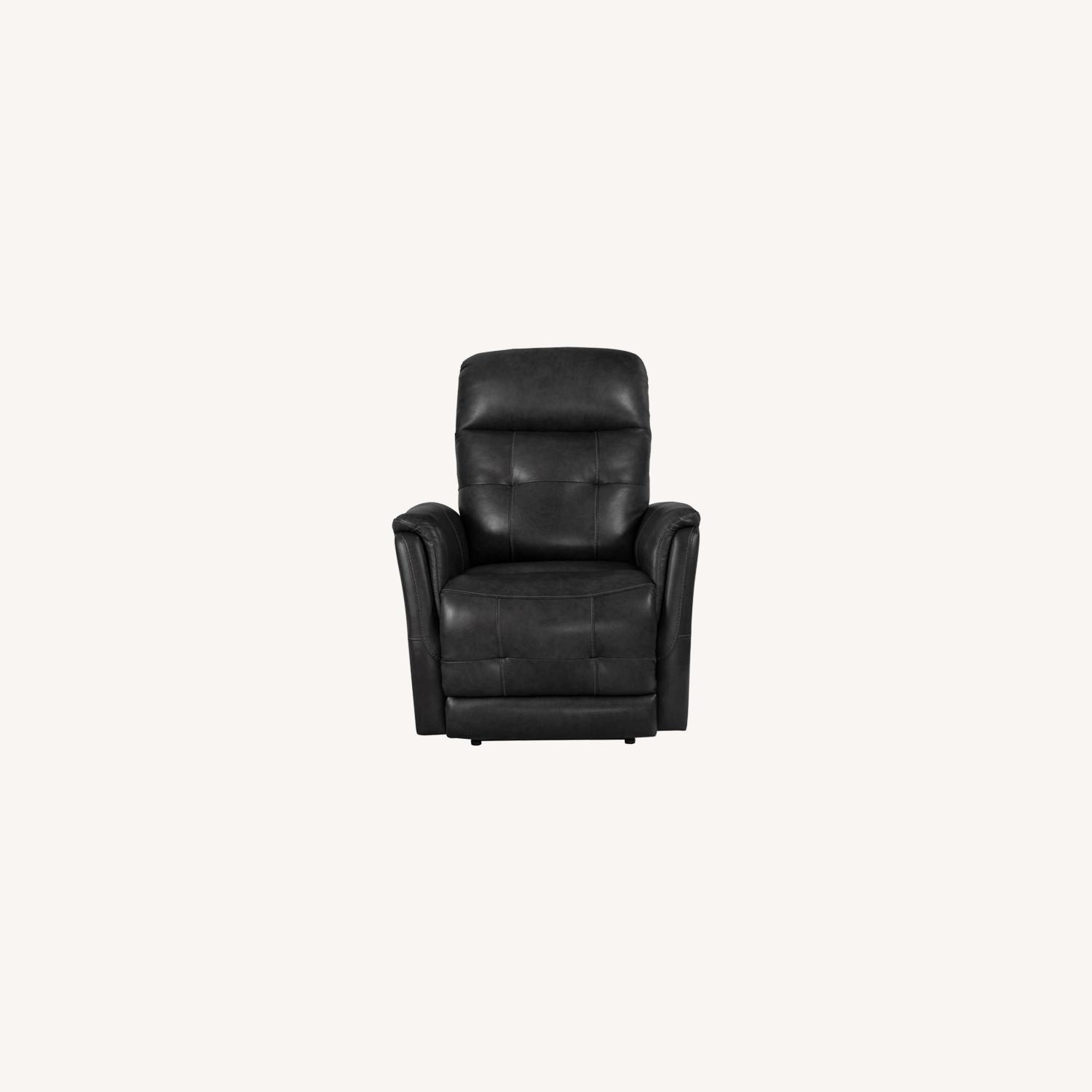 Power Recliner In Grey Leather Upholstery - image-9