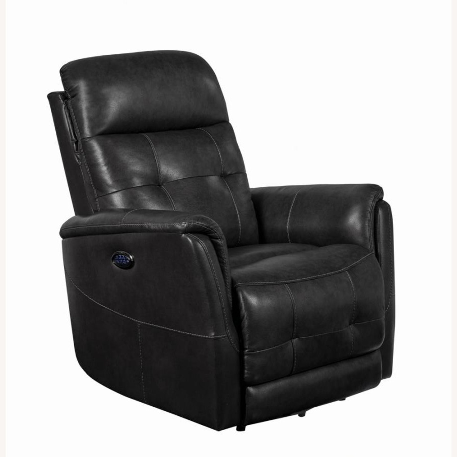 Power Recliner In Grey Leather Upholstery - image-0