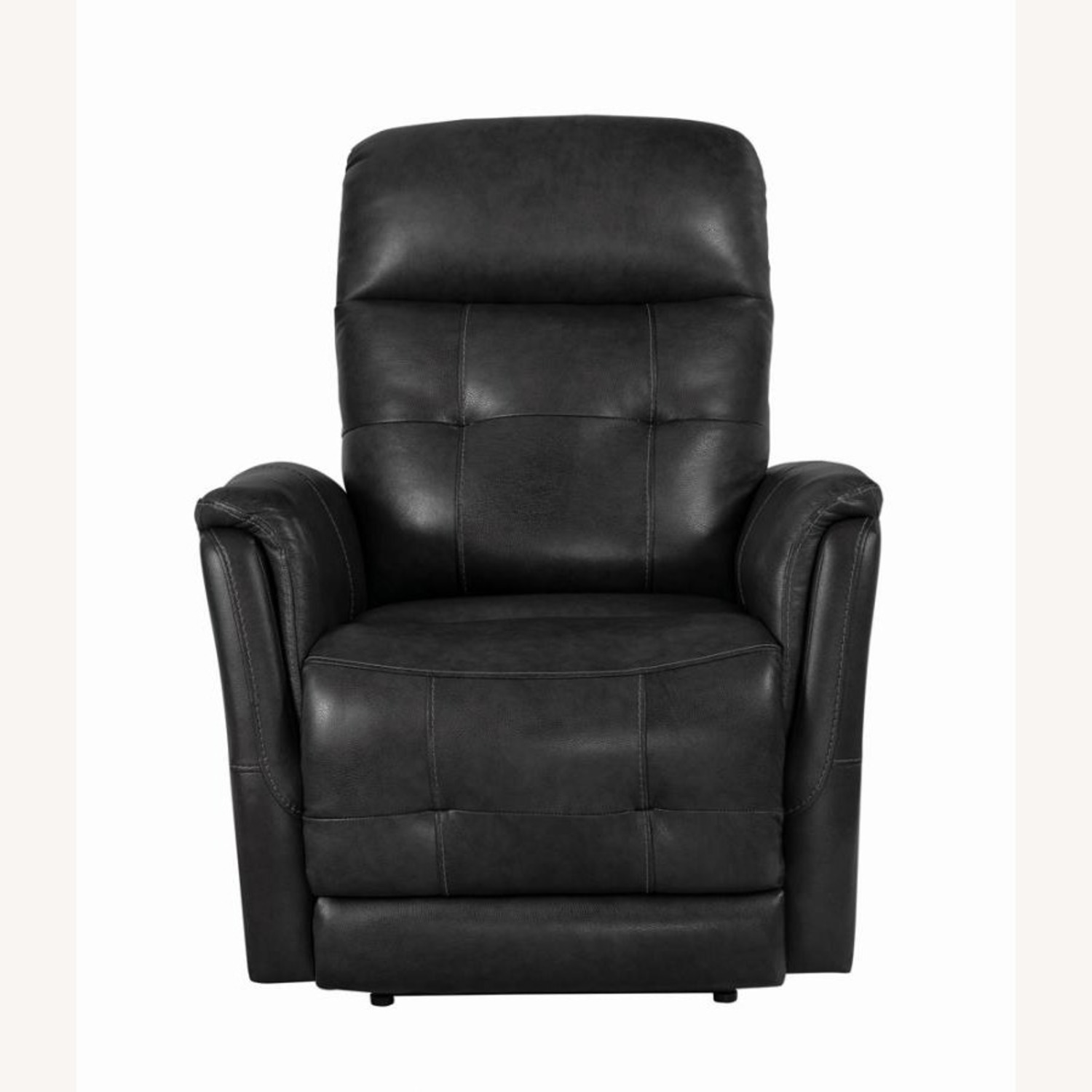 Power Recliner In Grey Leather Upholstery - image-2