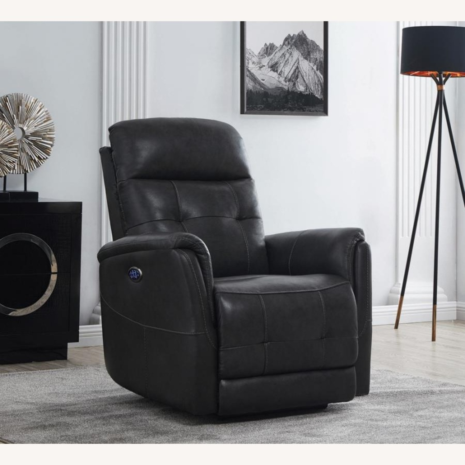 Power Recliner In Grey Leather Upholstery - image-8