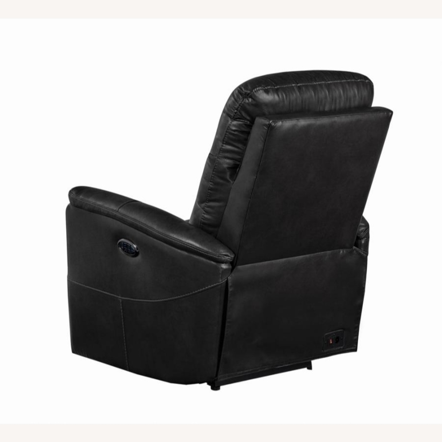 Power Recliner In Grey Leather Upholstery - image-4