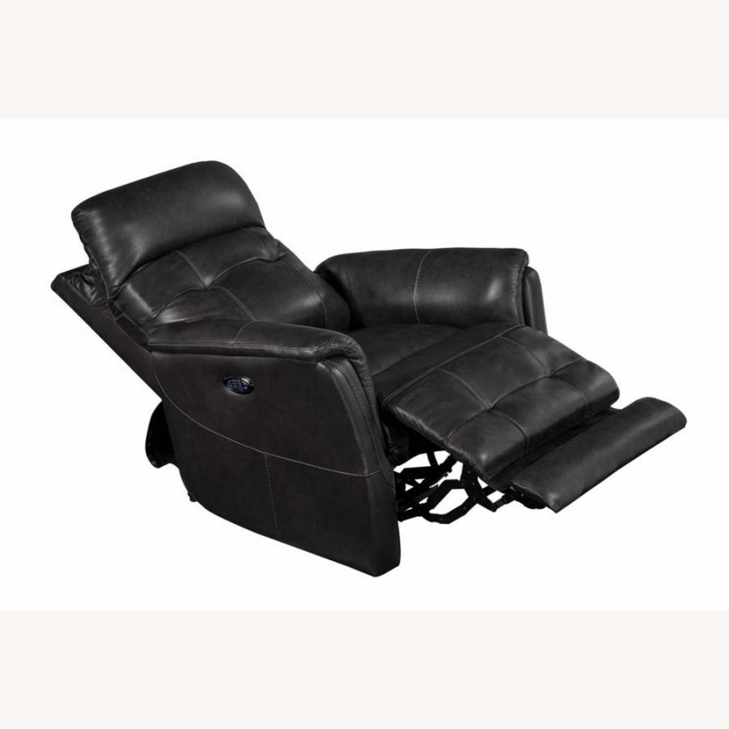 Power Recliner In Grey Leather Upholstery - image-1
