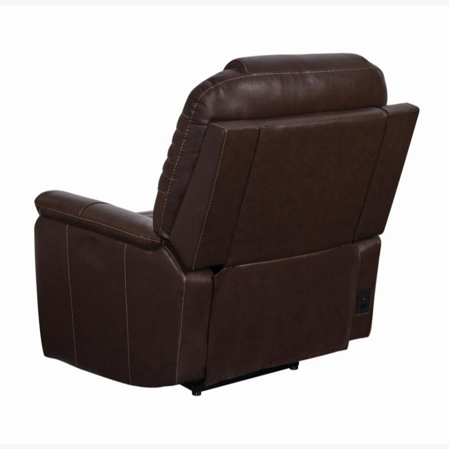 Power Recliner In Cozy Brown Leather Upholstery - image-4