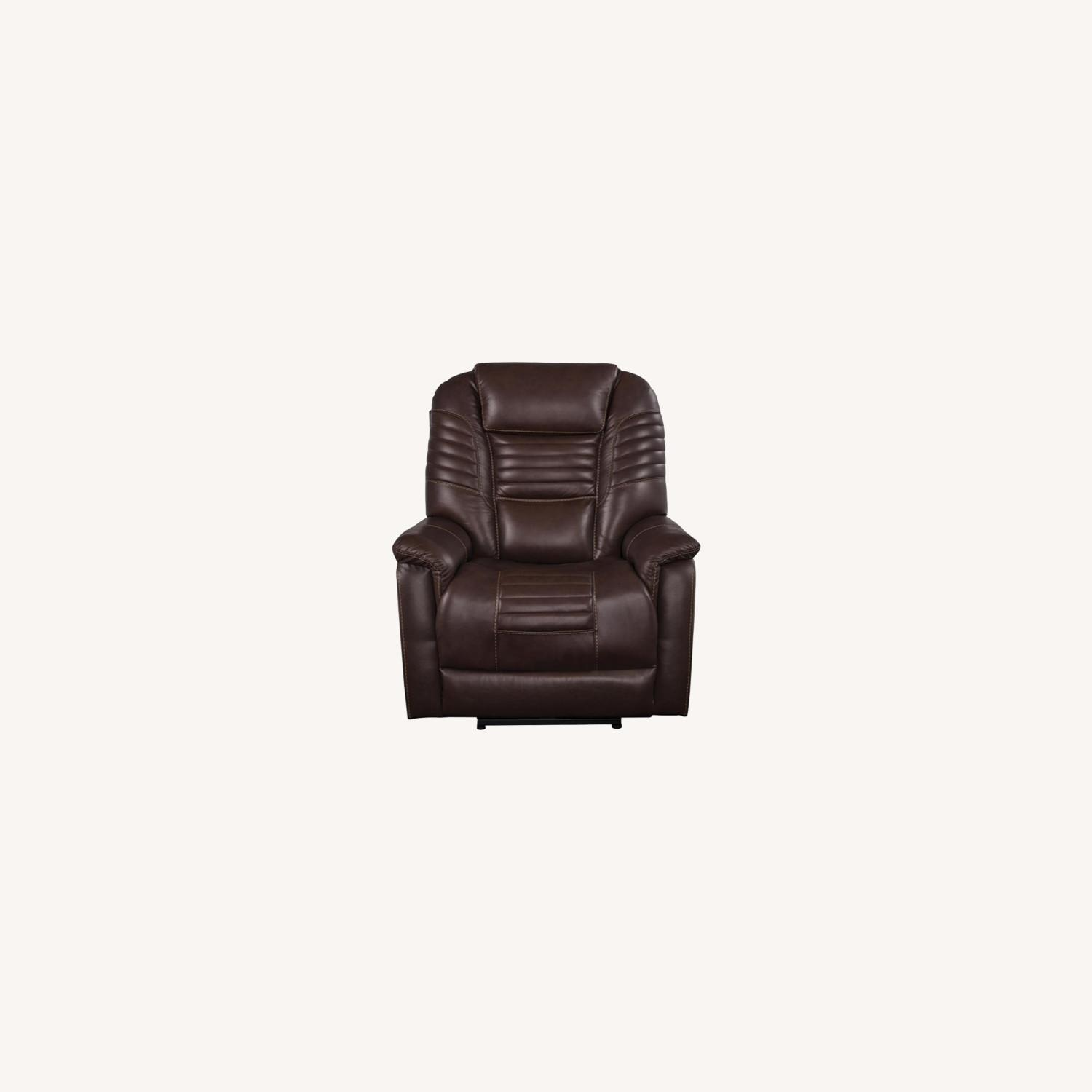Power Recliner In Cozy Brown Leather Upholstery - image-9