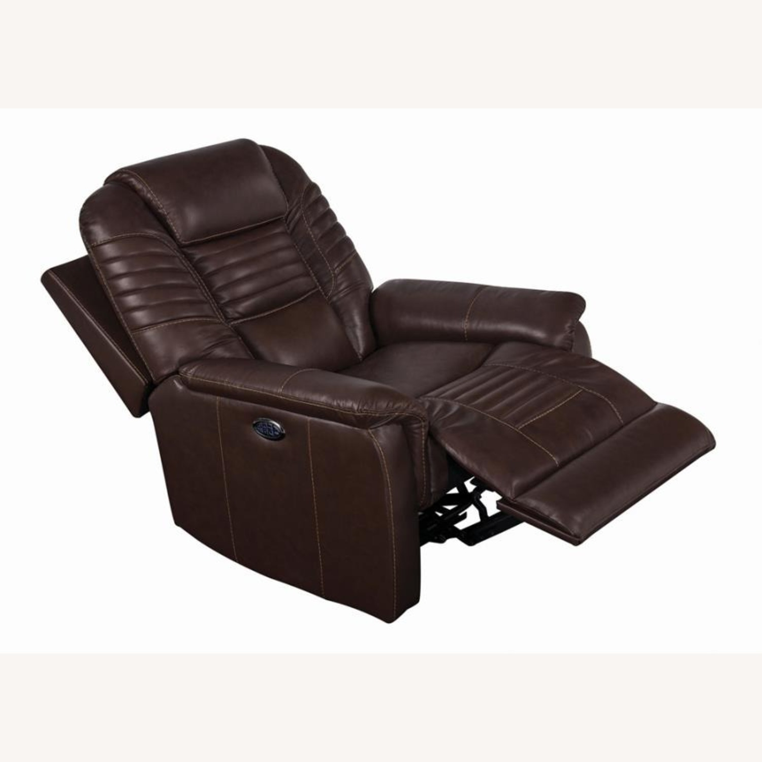 Power Recliner In Cozy Brown Leather Upholstery - image-1