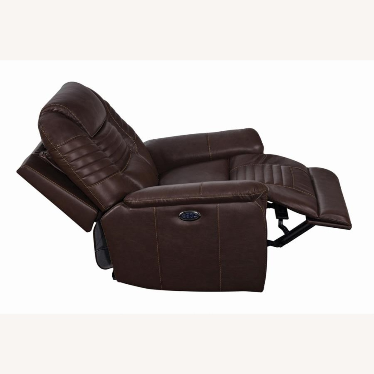 Power Recliner In Cozy Brown Leather Upholstery - image-3