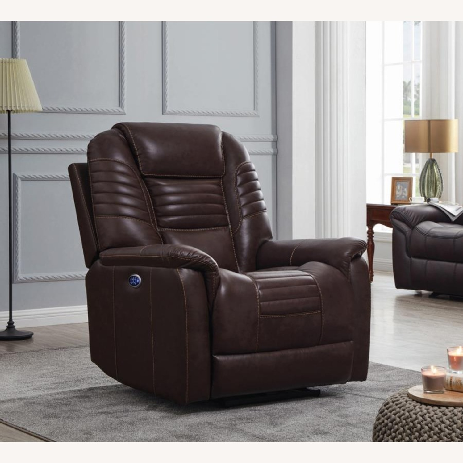 Power Recliner In Cozy Brown Leather Upholstery - image-8