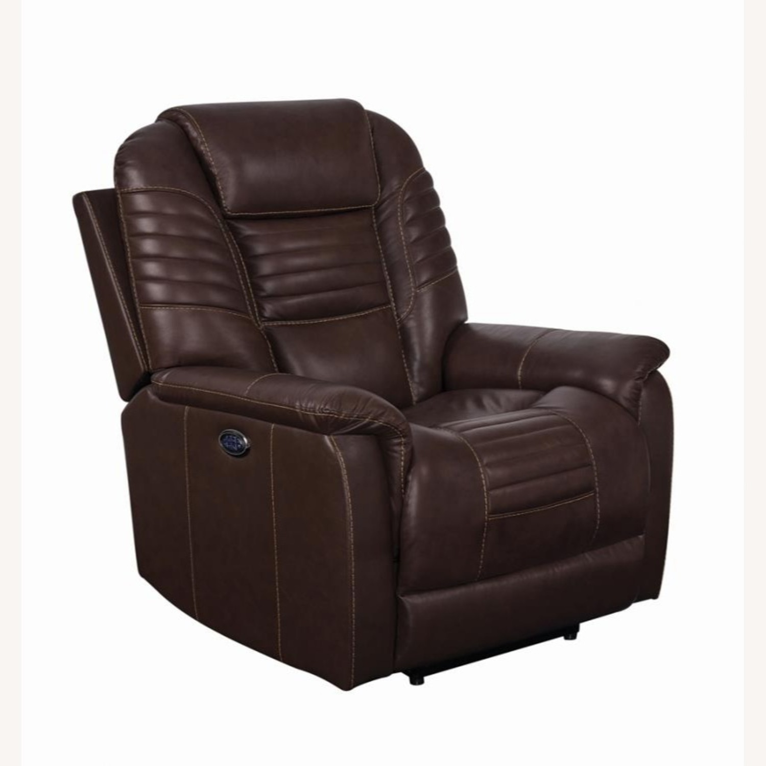 Power Recliner In Cozy Brown Leather Upholstery - image-0