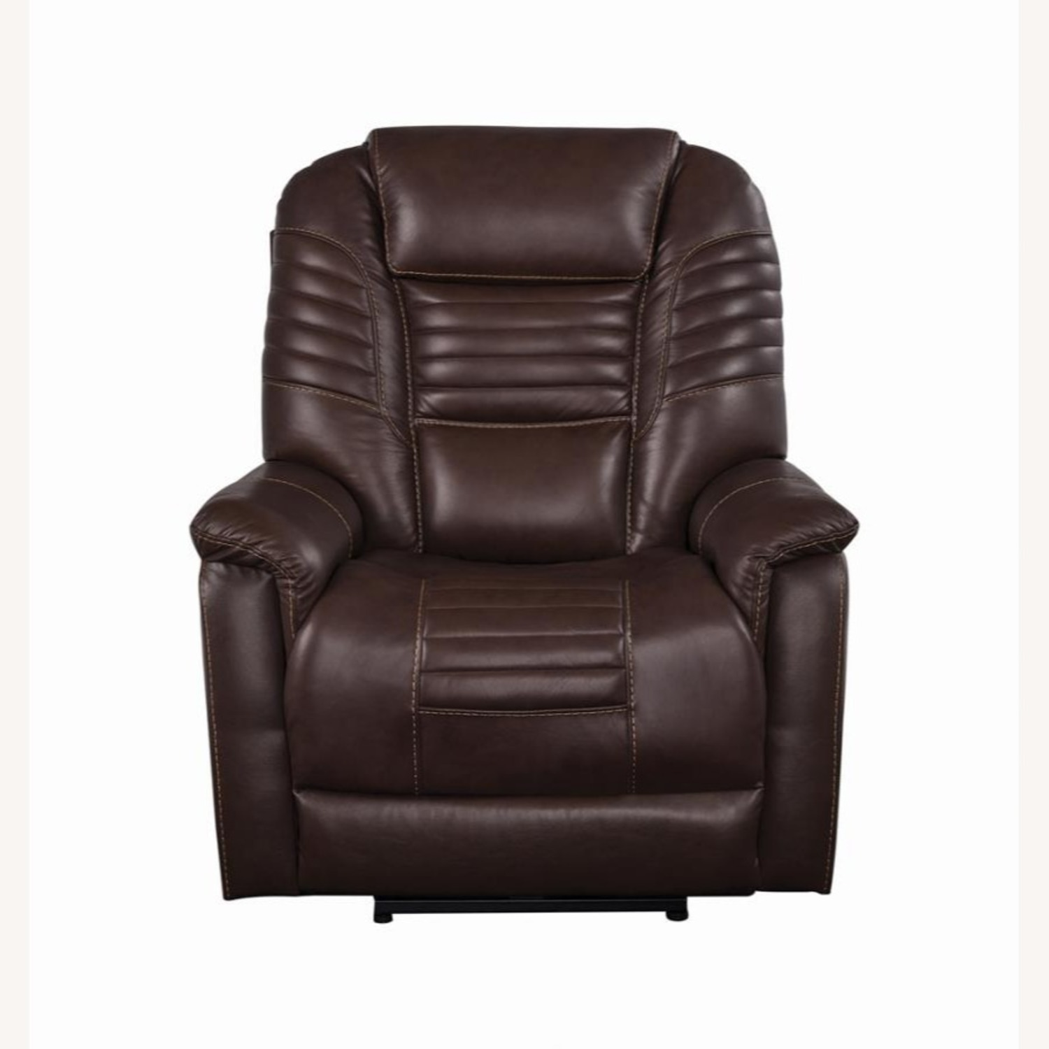 Power Recliner In Cozy Brown Leather Upholstery - image-2
