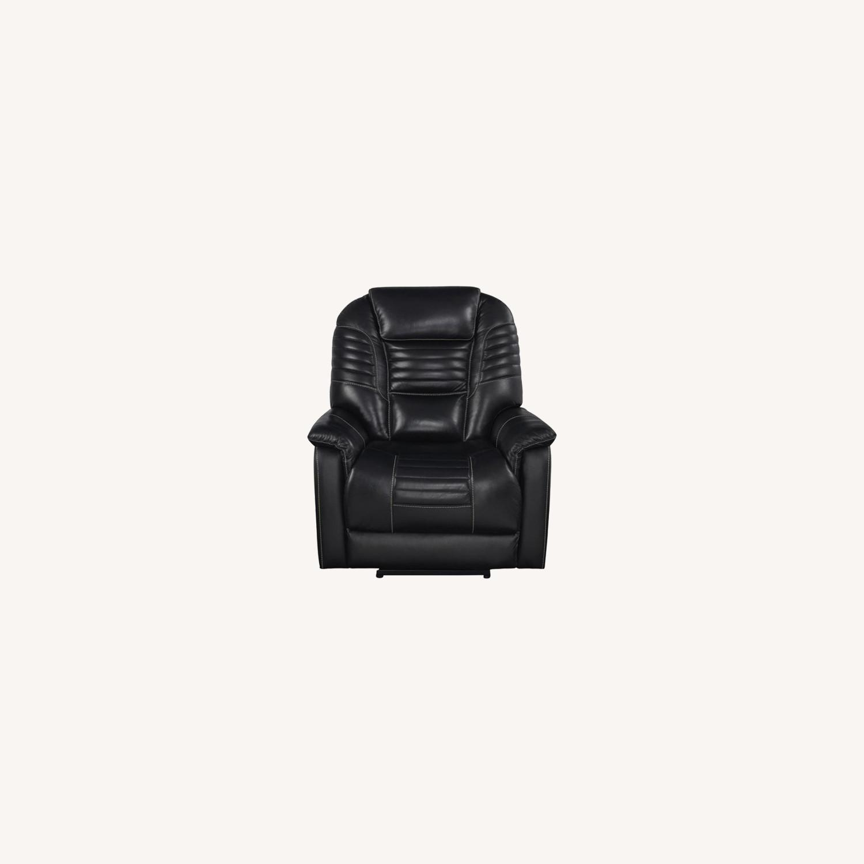 Power Recliner In Black Top Grain Leather - image-9