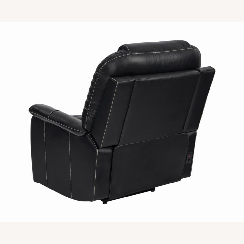 Power Recliner In Black Top Grain Leather - image-4