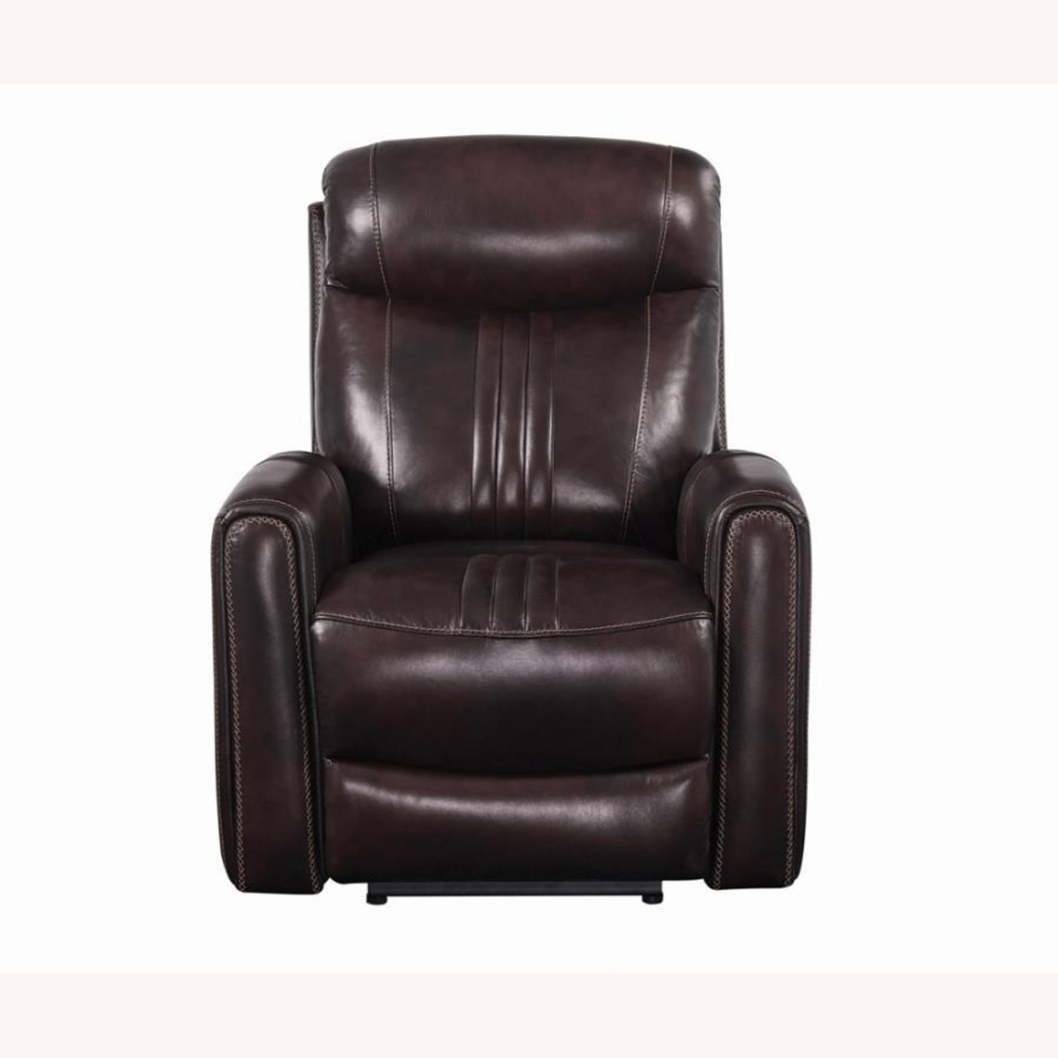 Modern Power Recliner In Brown Top Grain Leather - image-2