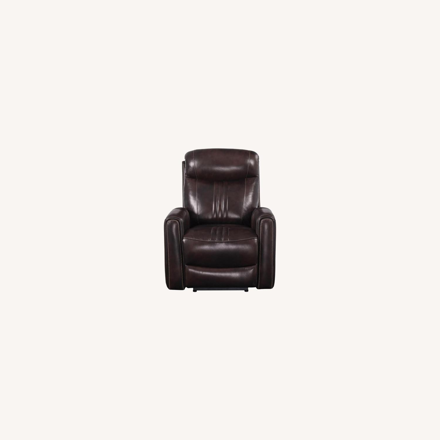 Modern Power Recliner In Brown Top Grain Leather - image-9