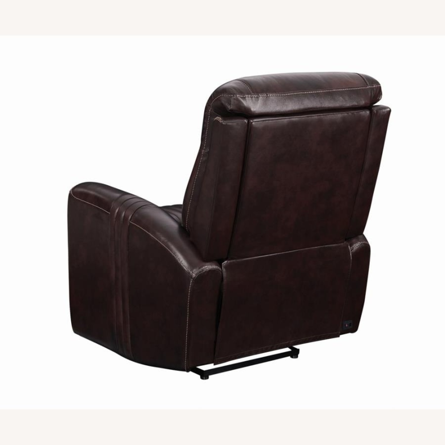 Modern Power Recliner In Brown Top Grain Leather - image-4