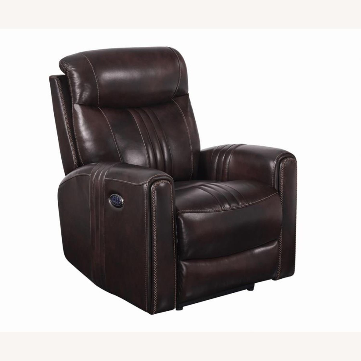 Modern Power Recliner In Brown Top Grain Leather - image-0