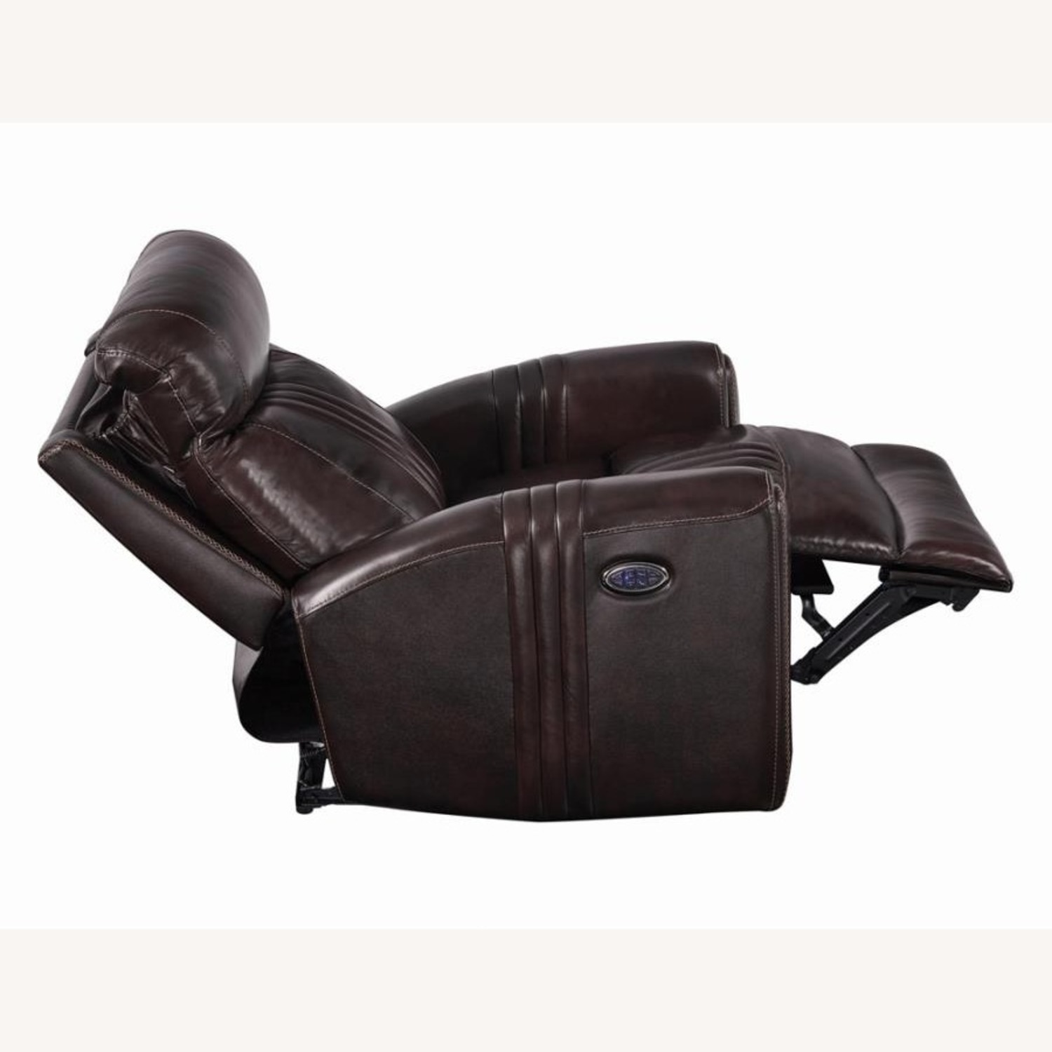 Modern Power Recliner In Brown Top Grain Leather - image-3