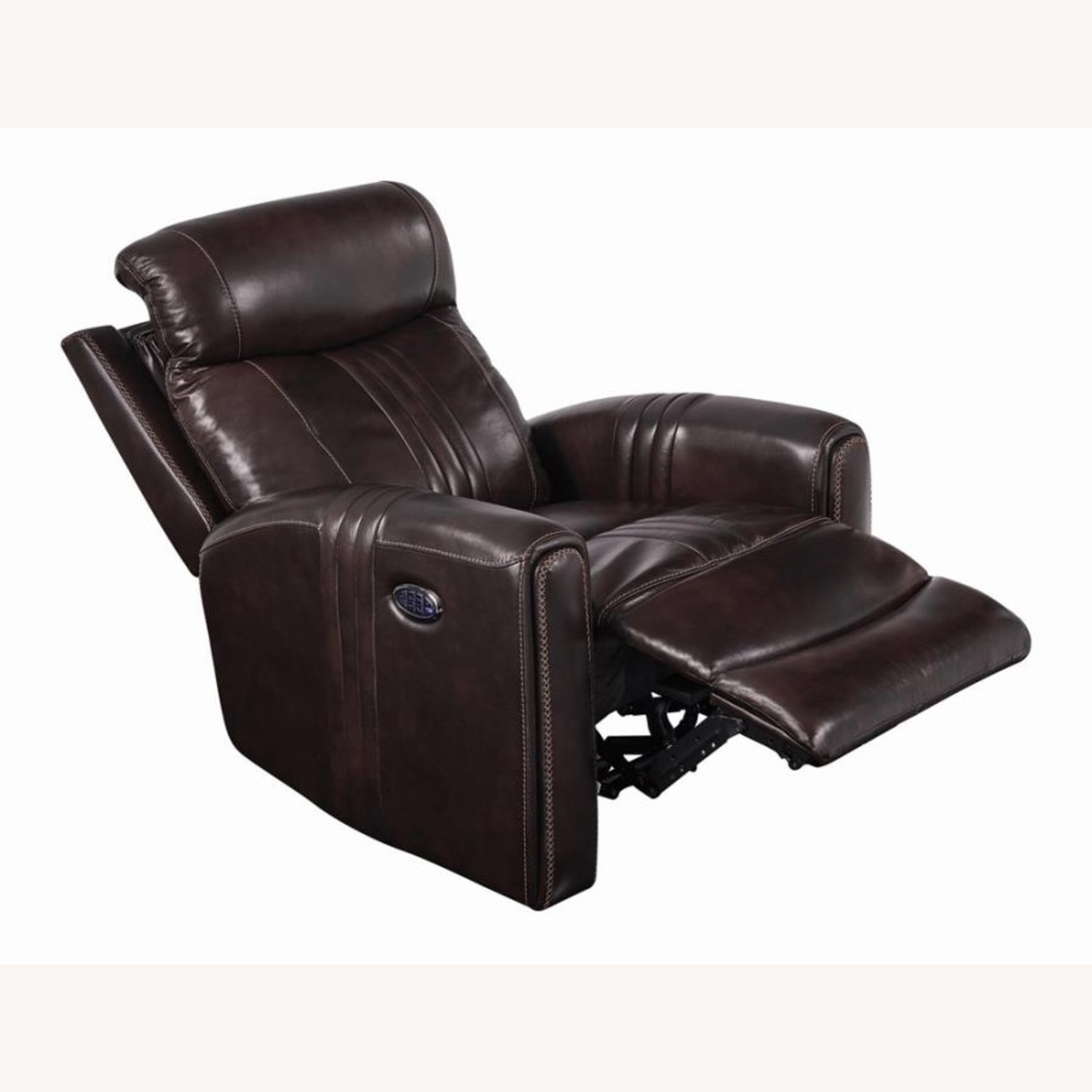 Modern Power Recliner In Brown Top Grain Leather - image-1