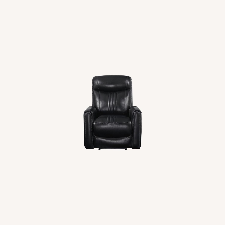 Modern Power Recliner In Black Top Grain Leather - image-7