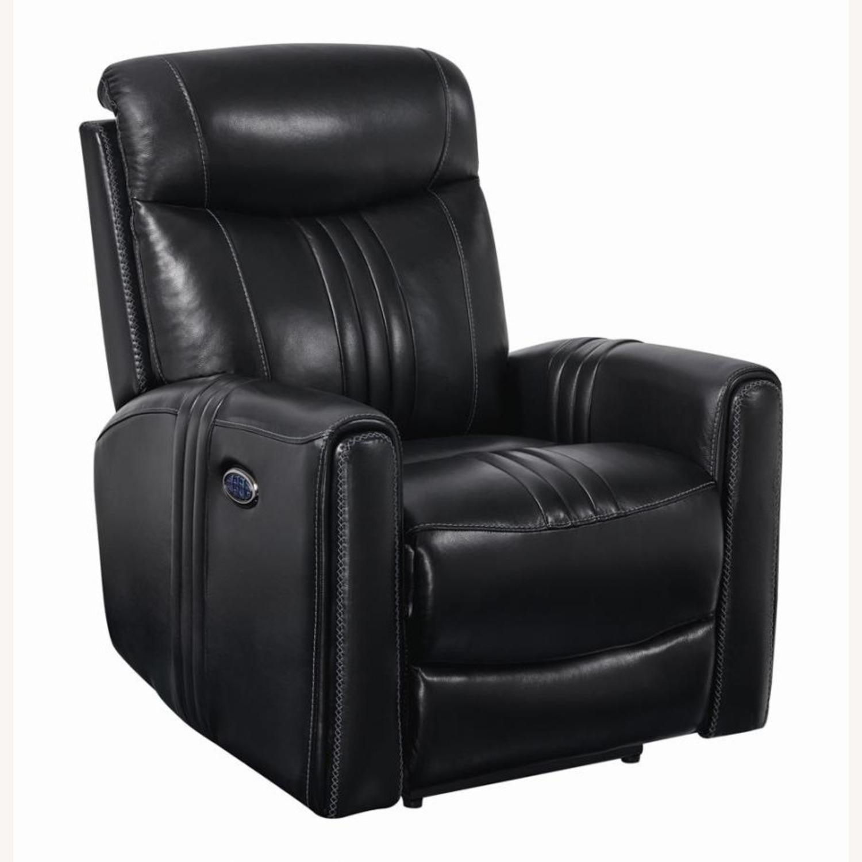 Modern Power Recliner In Black Top Grain Leather - image-0