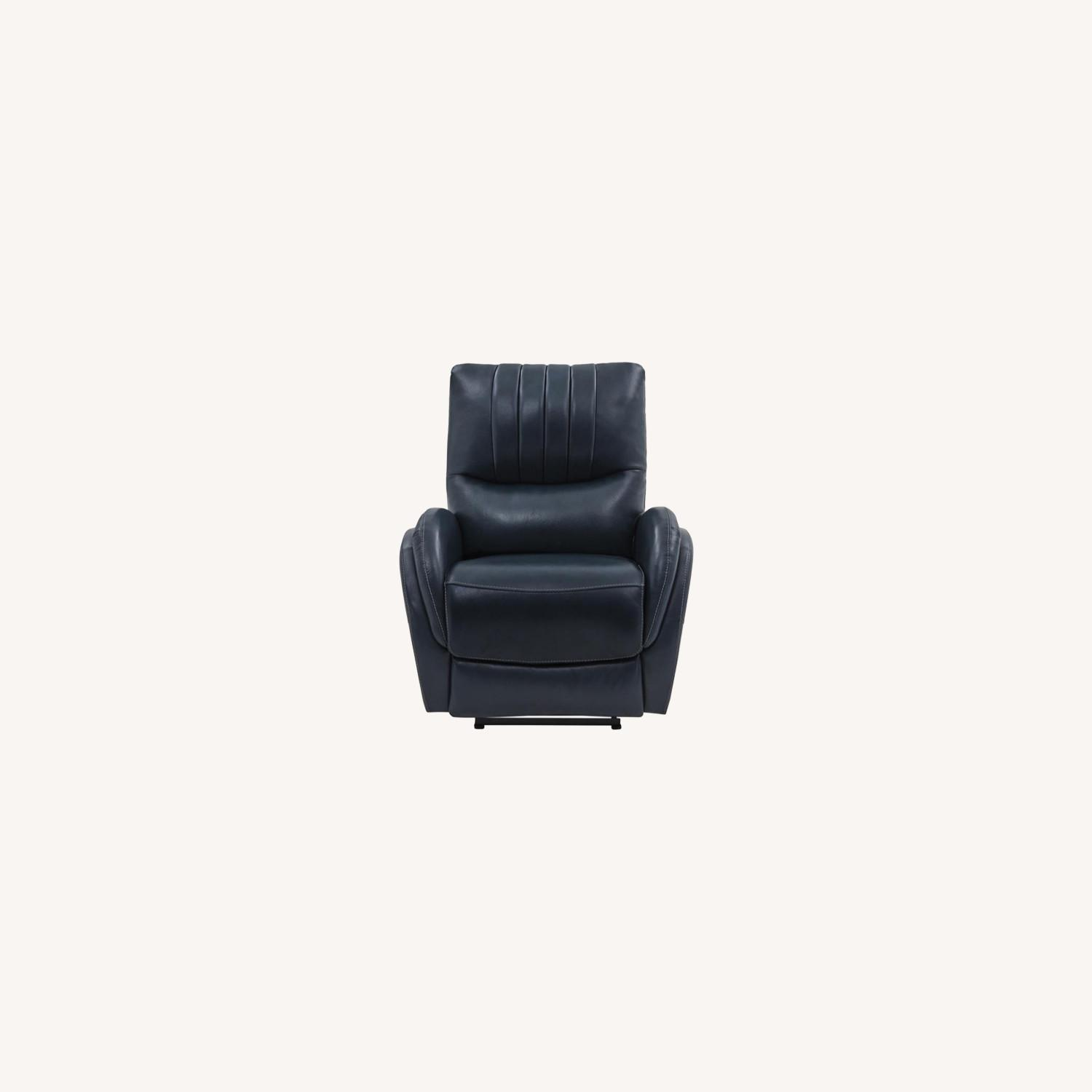 Power Recliner In Blue Top Grain Leather - image-9