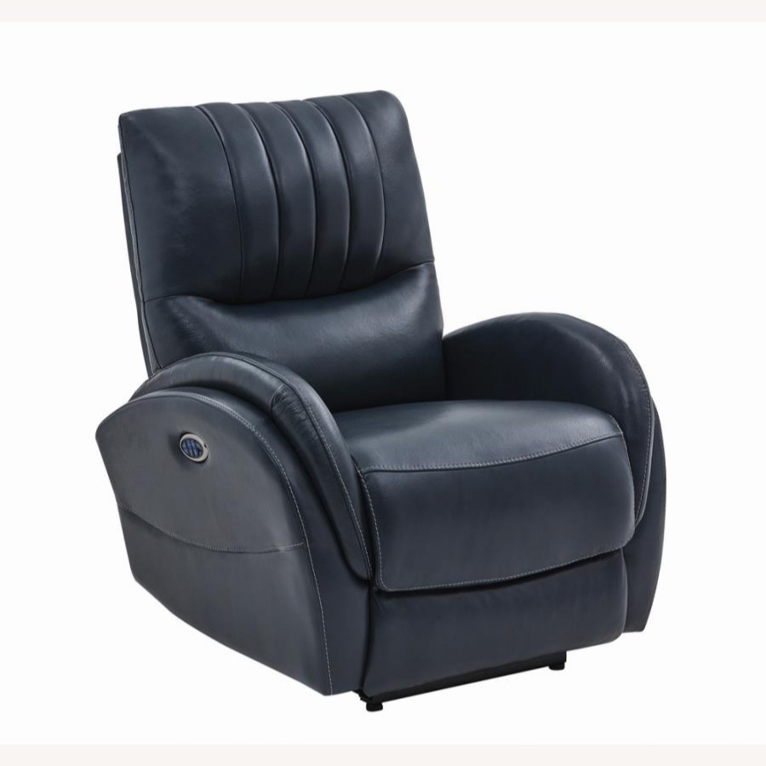 Power Recliner In Blue Top Grain Leather - image-0