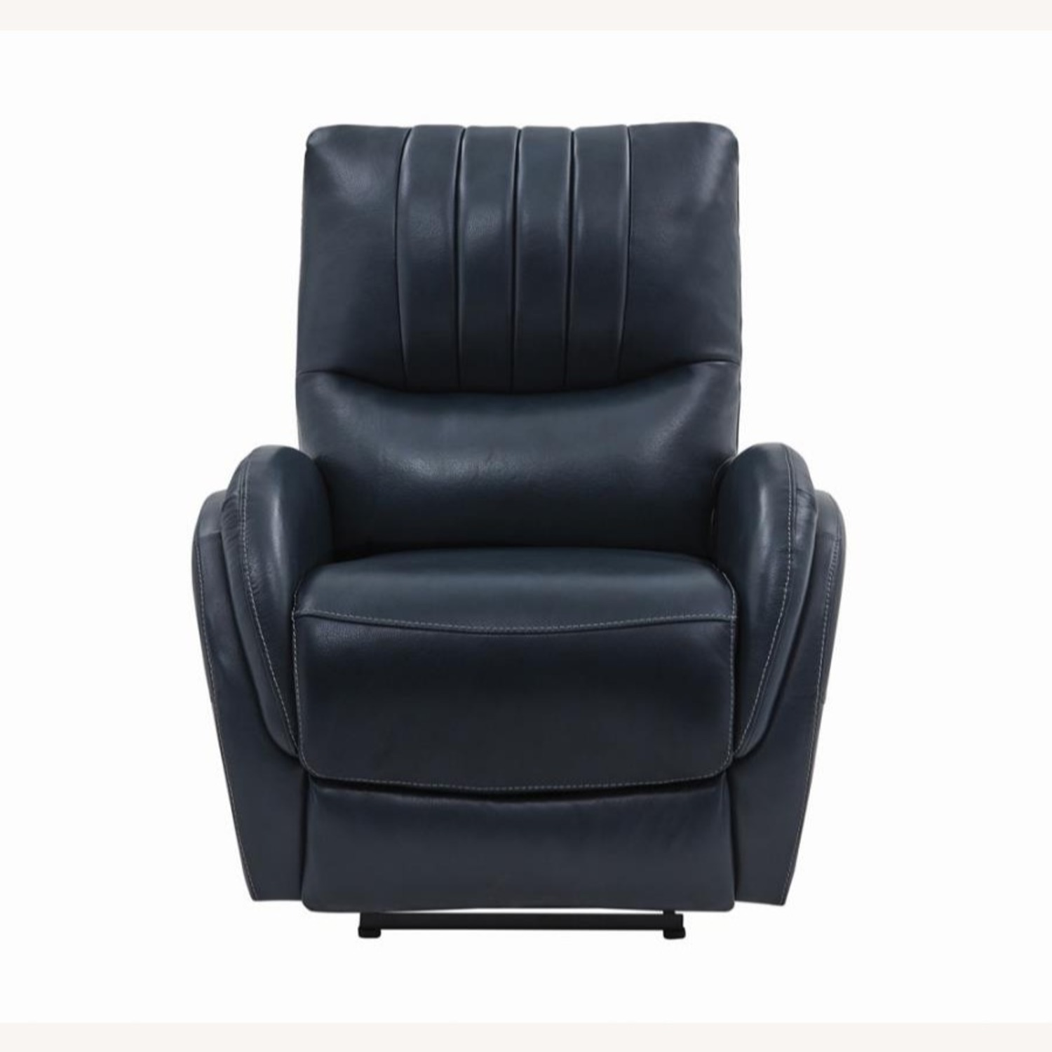 Power Recliner In Blue Top Grain Leather - image-3