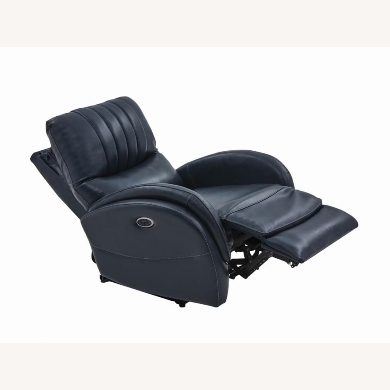 Power Recliner In Blue Top Grain Leather - image-1