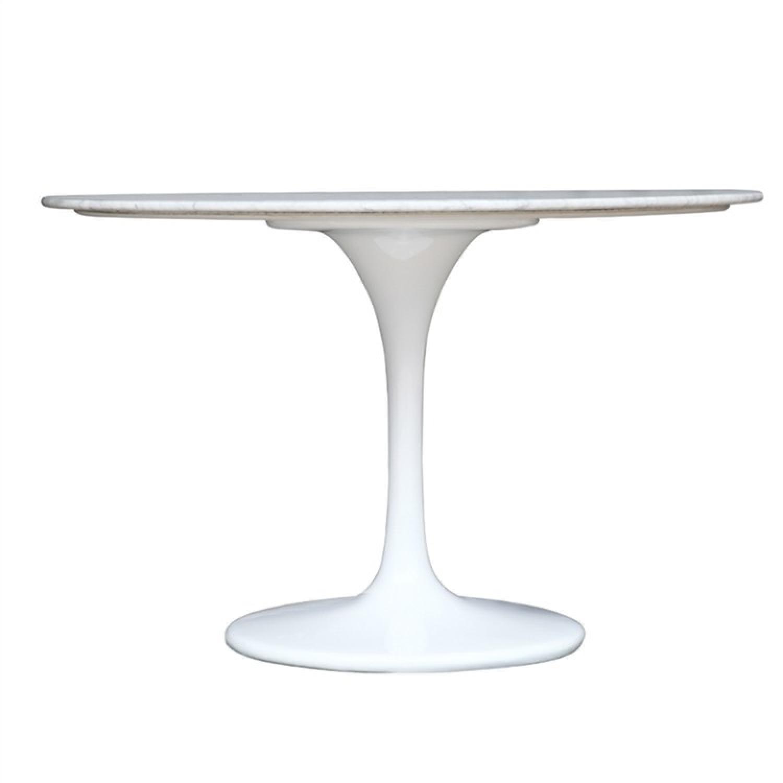 White Marble Top Table w/ Fiberglass Base - image-3