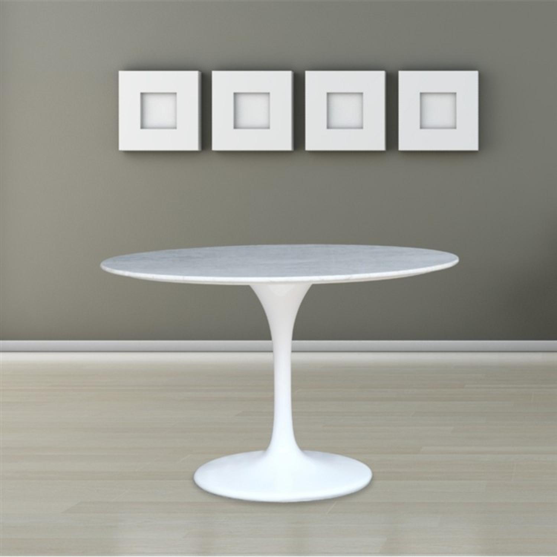 White Marble Top Table w/ Fiberglass Base - image-5
