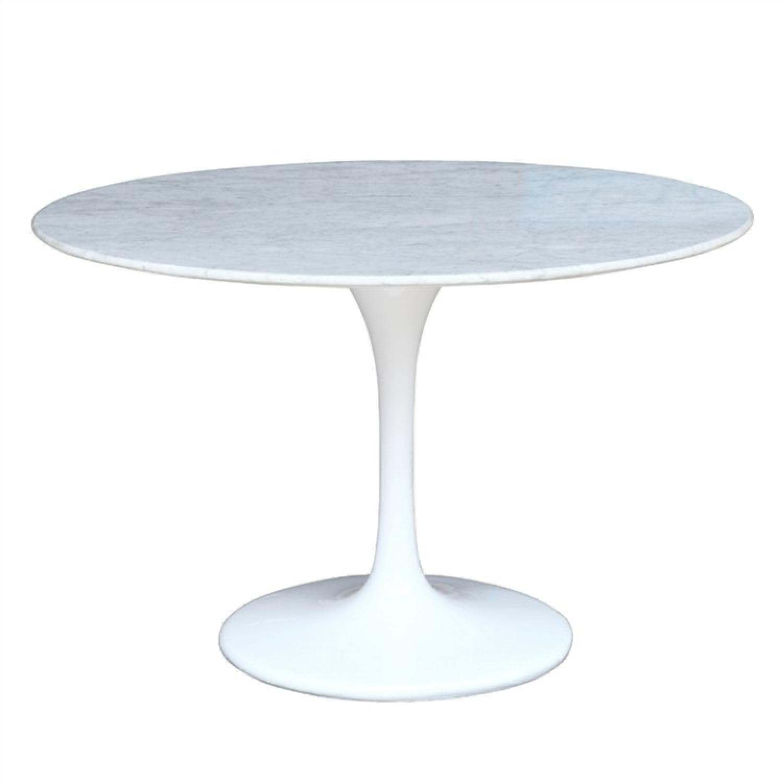White Marble Top Table w/ Fiberglass Base - image-0