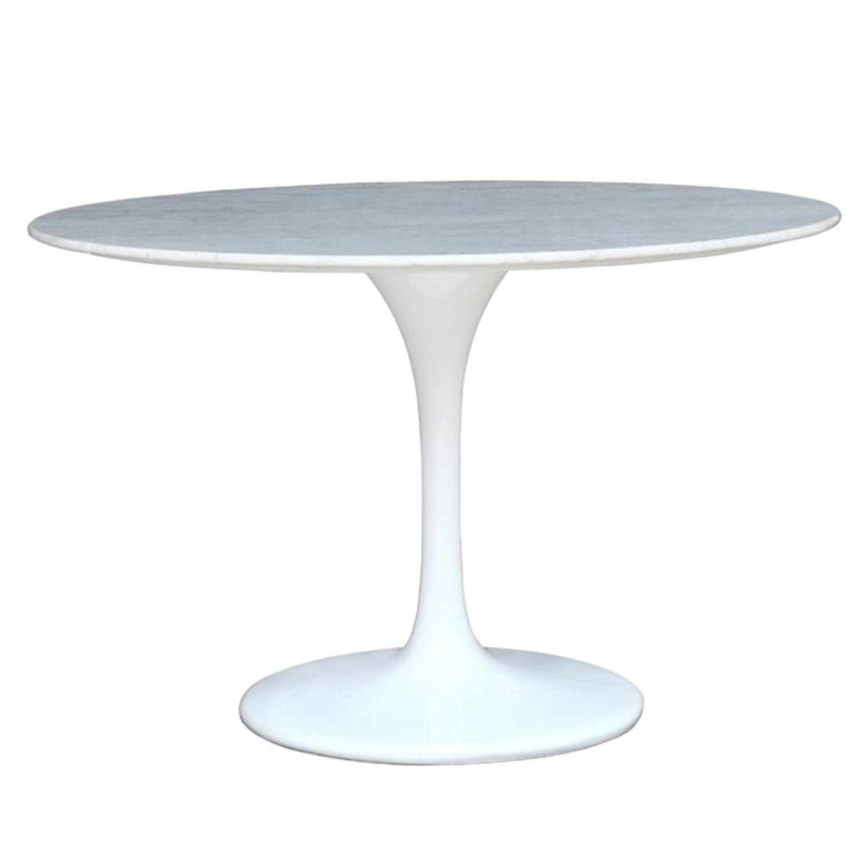 White Marble Top Table w/ Fiberglass Base - image-2