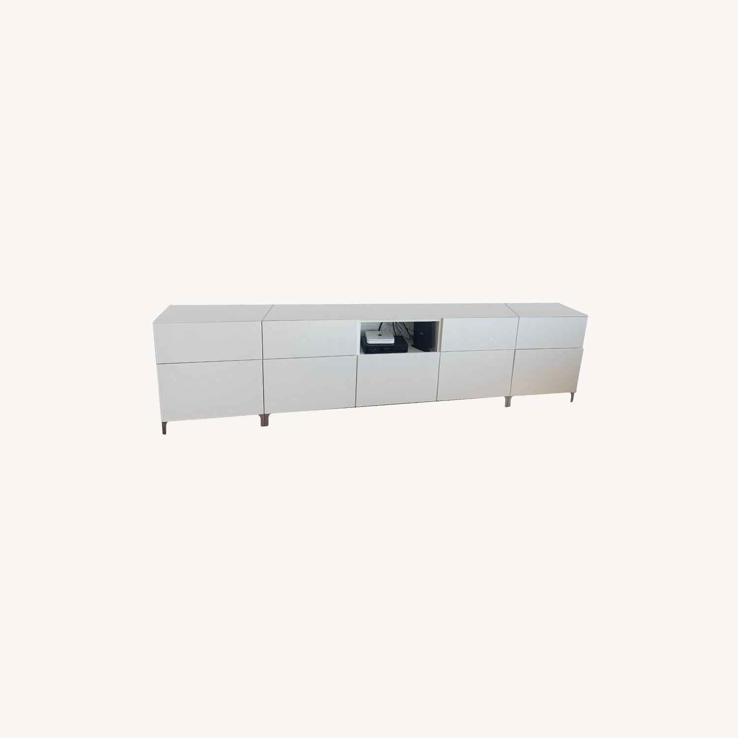 IKEA 9 Drawer White Lacquered Credenza - image-0