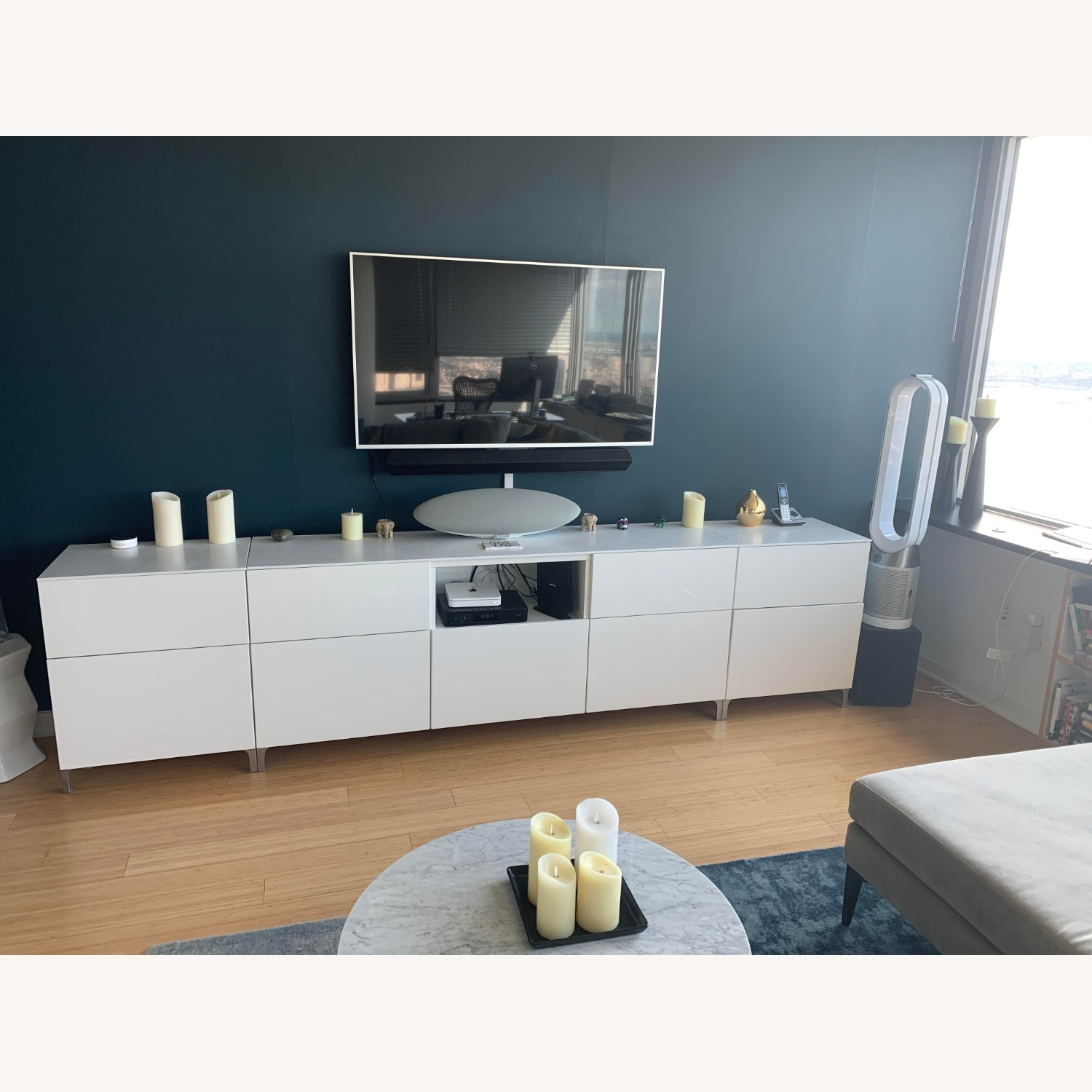 IKEA 9 Drawer White Lacquered Credenza - image-2