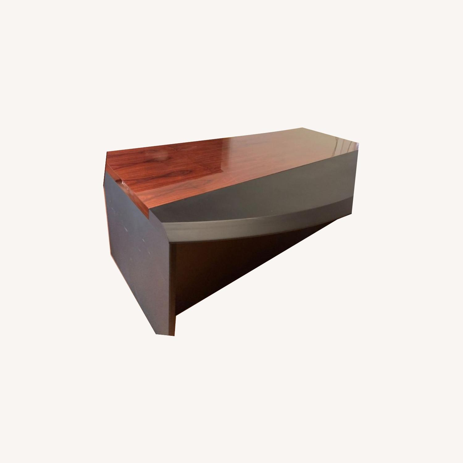 Executive Office Table with File Cabinet - image-0