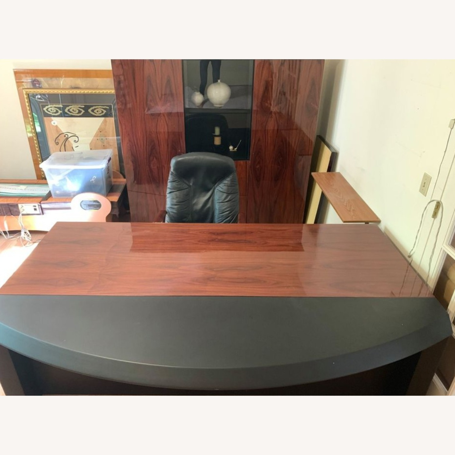 Executive Office Table with File Cabinet - image-1