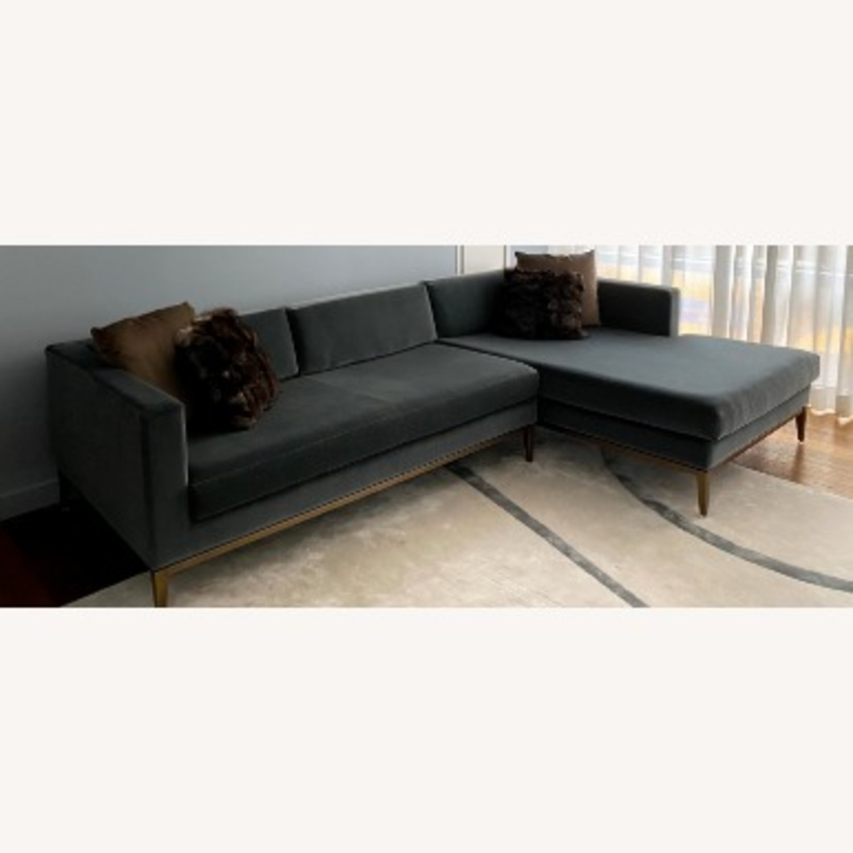 Restoration Hardware Slate Blue Sofa - image-2