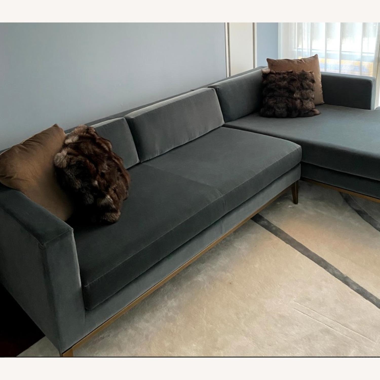 Restoration Hardware Slate Blue Sofa - image-3