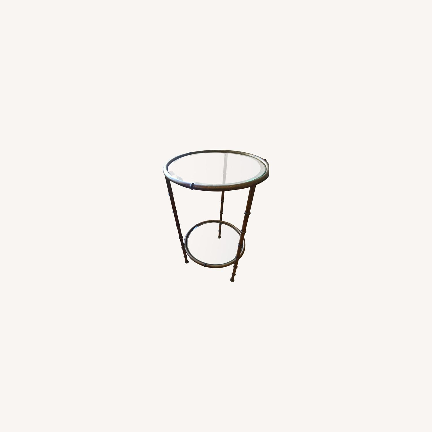 Glass and Metal Round Side Table - image-0