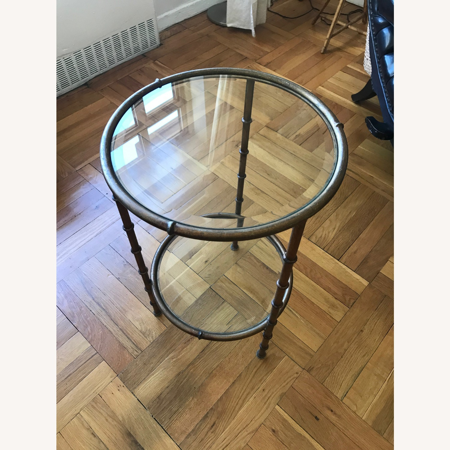 Glass and Metal Round Side Table - image-1