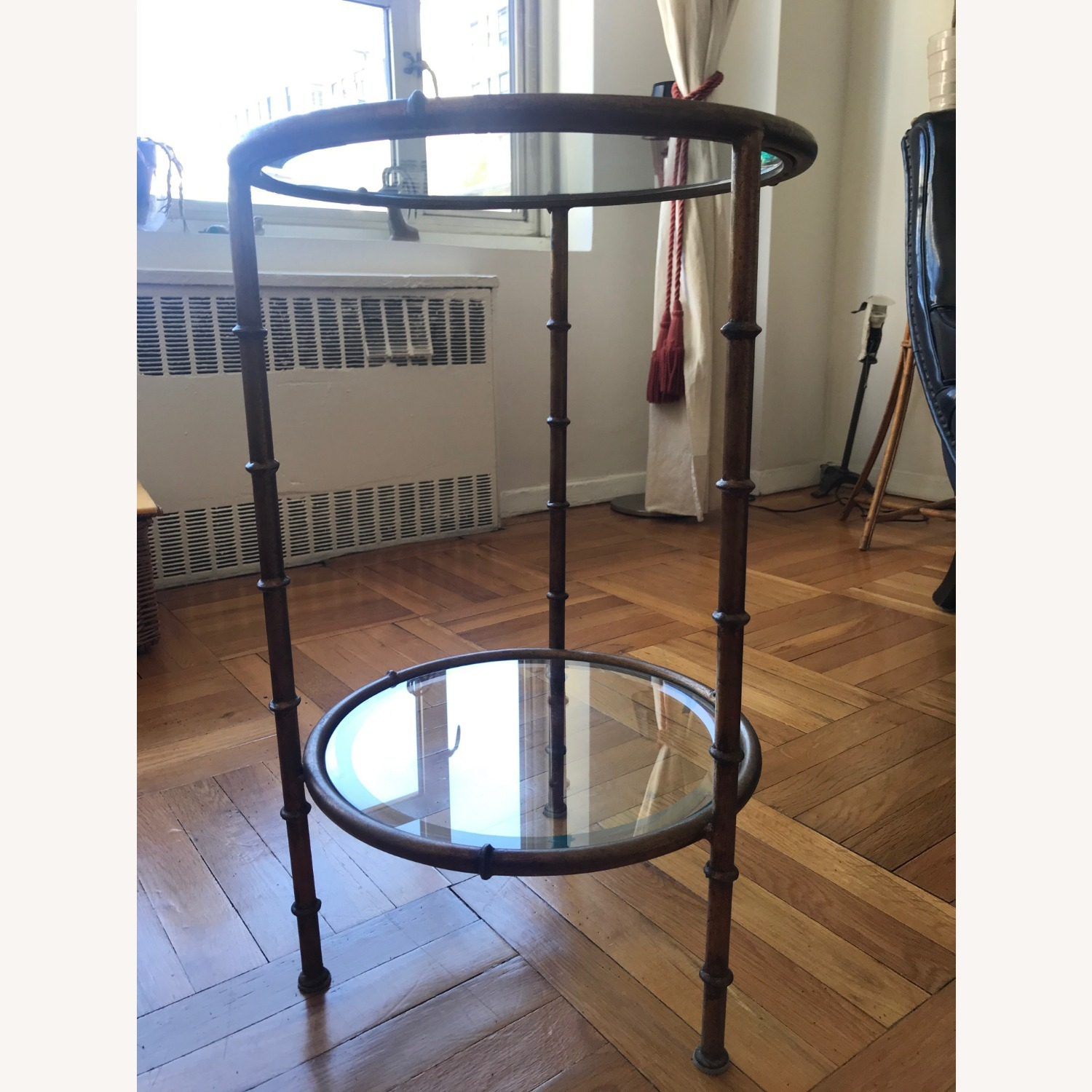 Glass and Metal Round Side Table - image-3