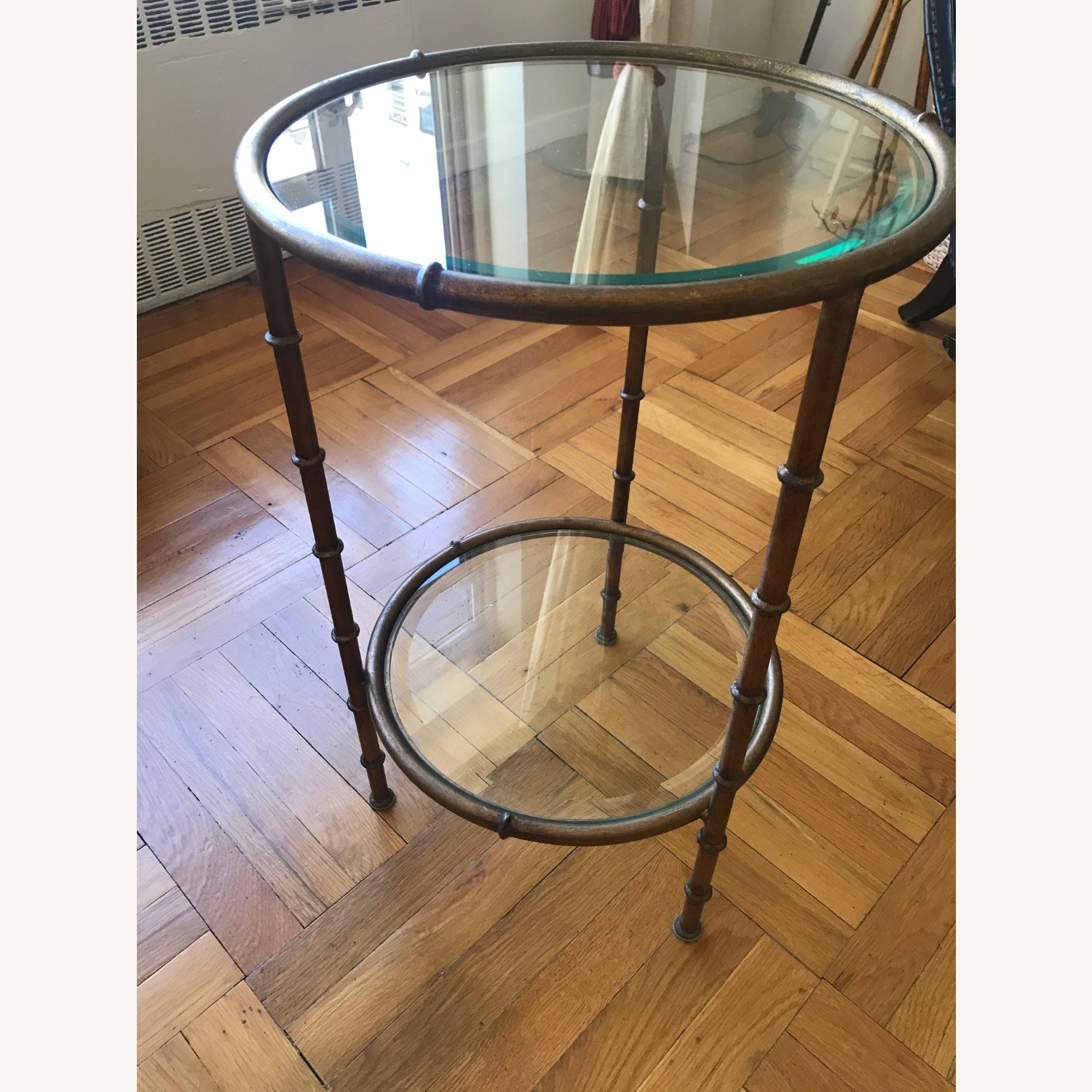 Glass and Metal Round Side Table - image-2