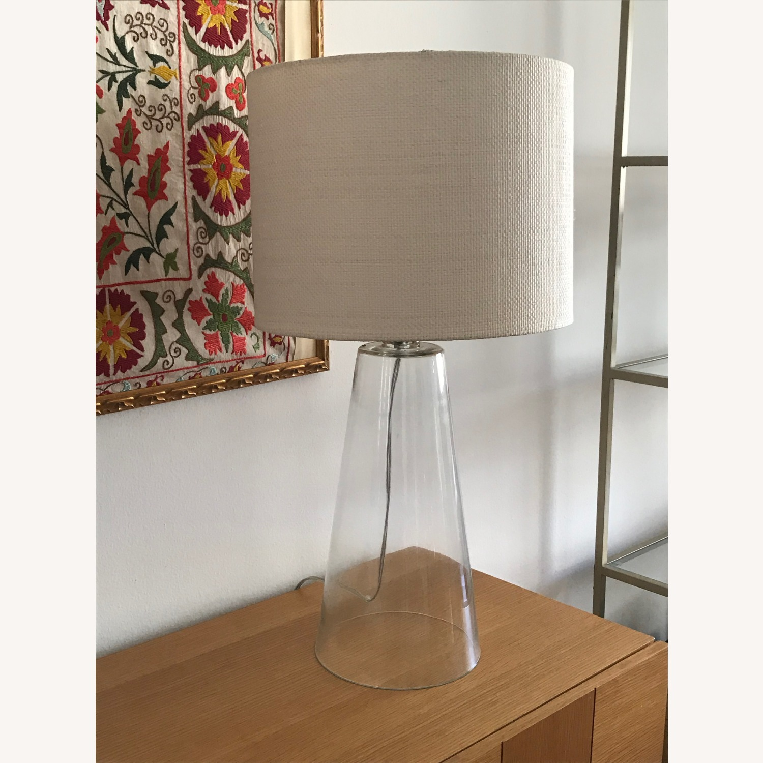 Glass Table Lamp with White Shade - image-3