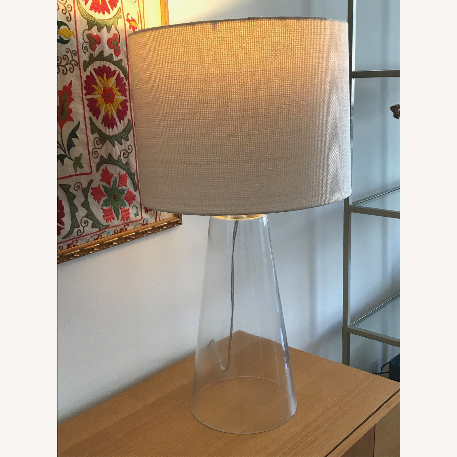 Glass Table Lamp with White Shade - image-1