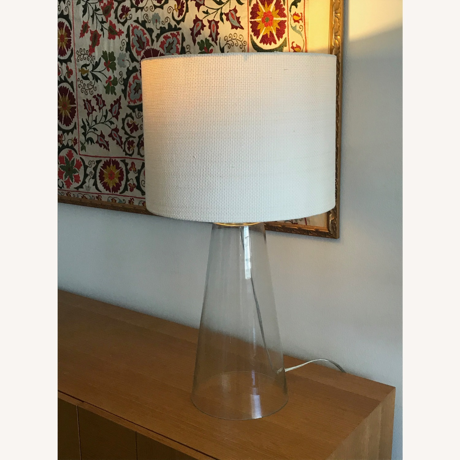 Glass Table Lamp with White Shade - image-0